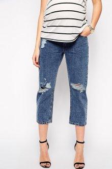 Модные темные джинсы с дырками для беременных женщин
