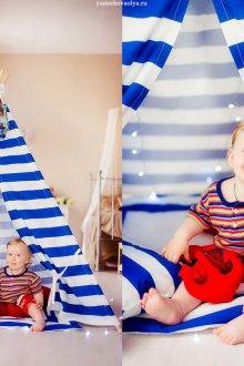 Фотосессия малыша в палатке