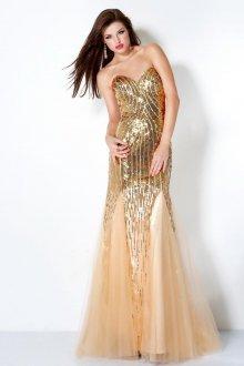Длинное золотое платье с фатиновой юбкой