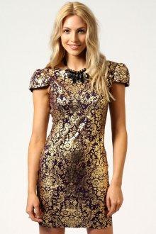 Короткое красивое золотое платье с рукавами