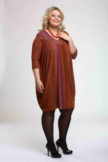 Коричневое платье балахон для полной девушки