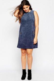 Синее замшевое платье трапеция для полных девушек
