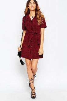 Бордовое замшевое платье рубашка
