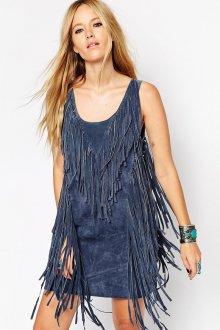 Замшевое платье с бахромой спереди