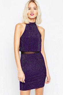 Стильное фиолетовое блестящее платье