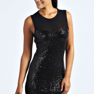 Черное маленькое блестящее платье