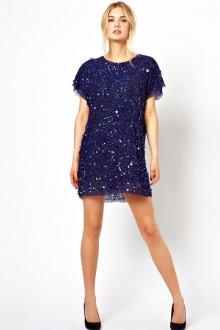 Синее блестящее платье