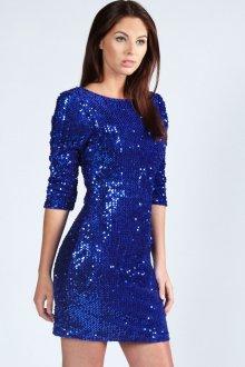 Короткое синее коктейльное платье