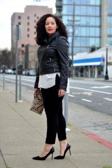Модный кожаный жакет для полных женщин