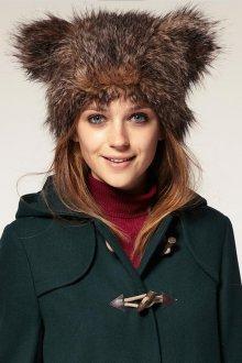 Пушистая модная женская шапка с ушками