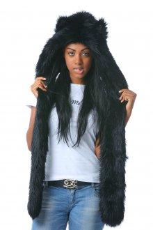 Черная женская шапка волк