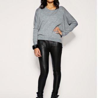 Кожаные модные узкие брюки