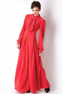 Красное красивое длинное платье