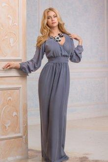 Серое длинное платье