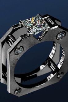 Мужское титановое кольцо с бриллиантом