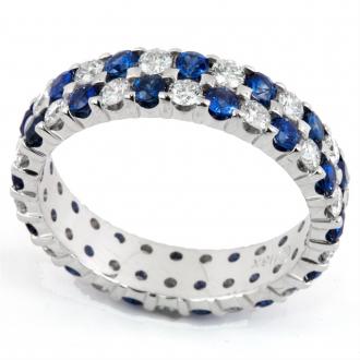 Эффектное кольцо с прозрачными и синими бриллиантами