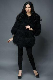 Черная пушистая стильная шуба из ламы