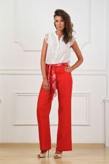 Широкие брюки из льна