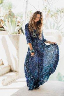 Синее платье в бохо стиле