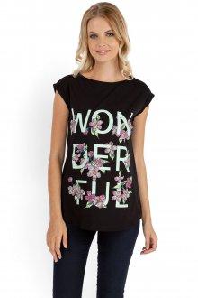 Модная черная футболка с надписью