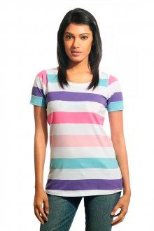 Женская футболка в разноцветную полоску
