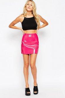 Розовая блестящая юбка с топом