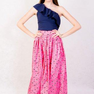 Длинная розовая юбка в горошек