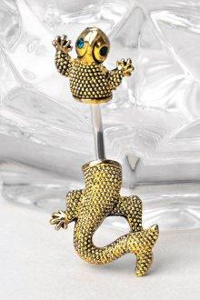 Украшение ящерица из золота для пирсинга