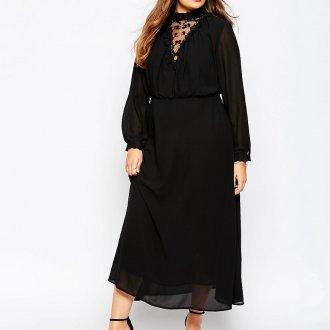 Черное свободное платье в викторианском стиле