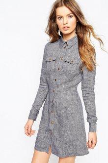 Серое платье рубашка из льна