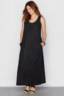 Черное льняное платье в пол