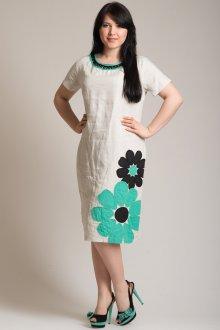 Бежевое льняное платье с вышивкой