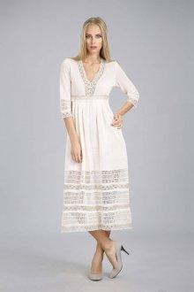 Льняное светлое длинное платье-сарафан с кружевами