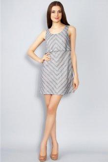 Льняное короткое полосатое платье