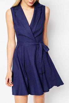 Льняное короткое синее платье