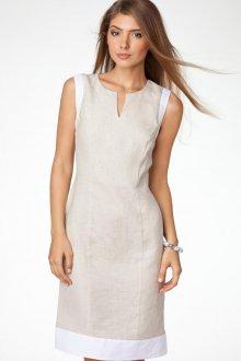Бежевое платье футляр из льна