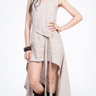 Ассиметричное платье из льна в бохо стиле