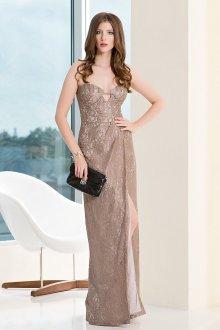 Длинное коричневое платье для вечеринки