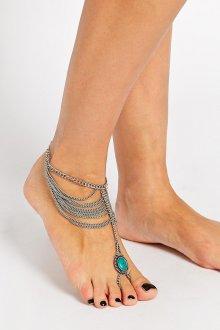 Браслет с зеленым камнем на ногу