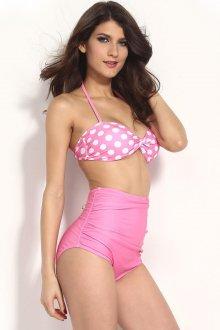 Розовый раздельный купальник в ретро стиле