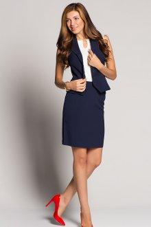 Синяя деловая юбка с жакетом без рукавов