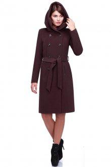 Классическое женское темно-бордовое пальто