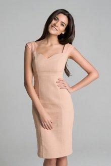 Бежевое женское классическое платье
