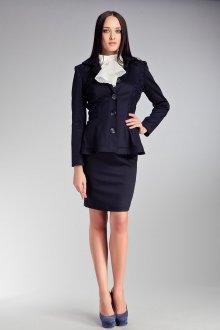 Стильный черный женский классический костюм с юбкой