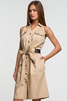 Бежевое платье без рукавов с поясом в стиле сафари