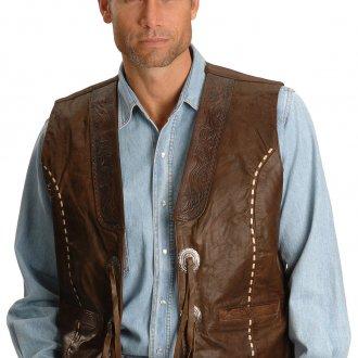 Мужская кожаная жилетка с джинсами в стиле кантри