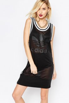 Черная длинная спортивная майка-платье