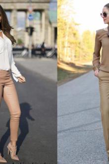 С чем надеть бежевые брюки