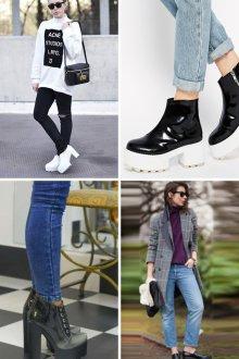 Модные образы с туфлями на толстом каблуке с тракторной подошвой