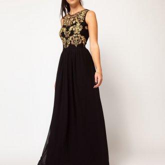 Черное длинное платье в стиле барокко